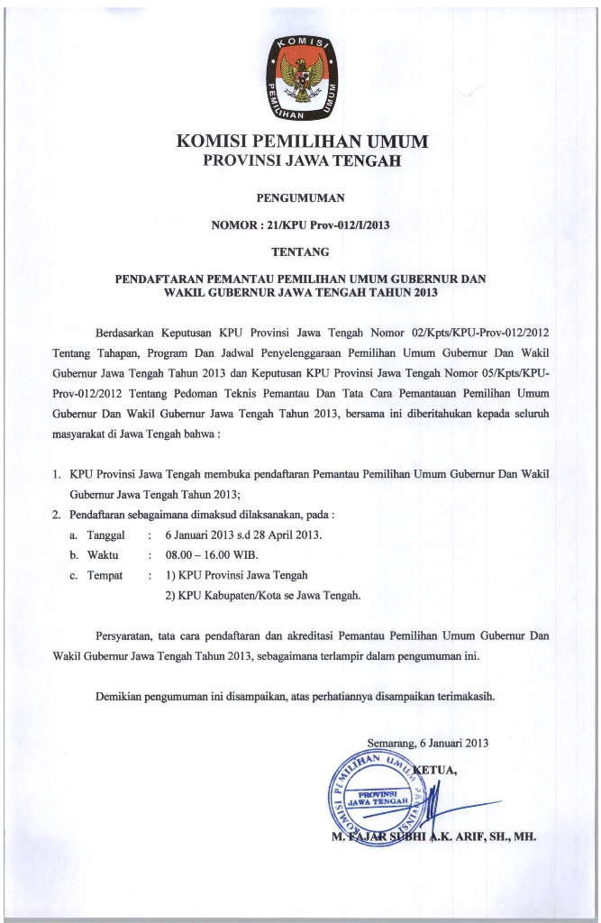 Pendaftaran PPS Pendaftaran Pemantau Pilgub JATENG 2013 Media